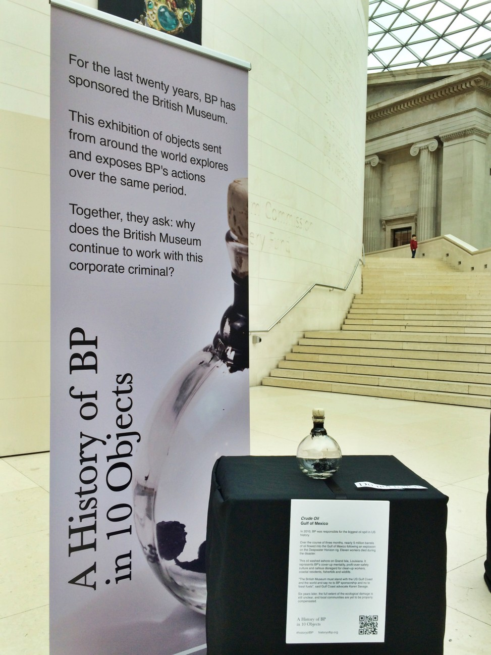 """Crude Oil"", on display without permission in the British Museum. Photo by Amy Scaife"