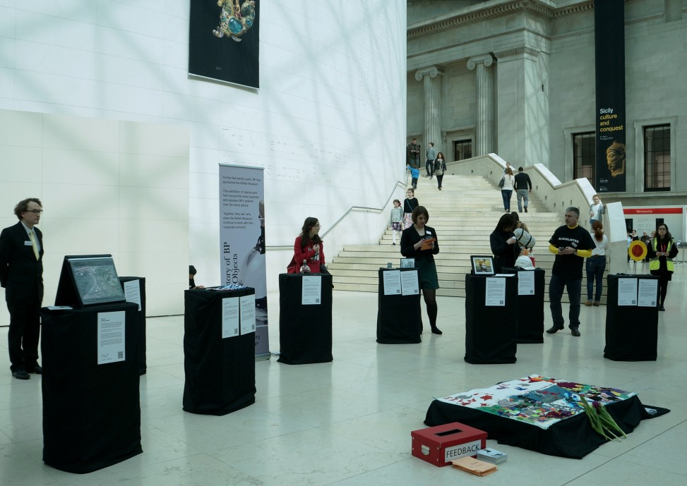 The exhibition in situ in the British Museum Great Court. Photo by London Mexico Solidarity