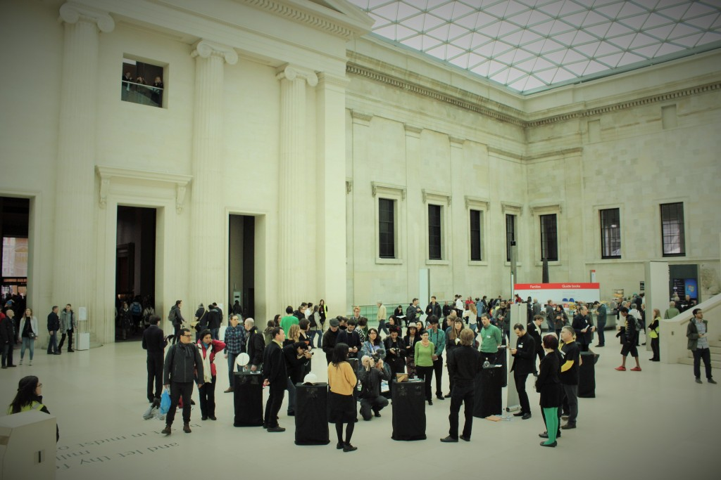Visitors browse the exhibition, in situ at the British Museum - photo by London Mexico Solidarity